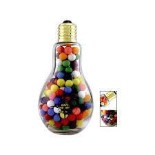 jumbo light bulb shape glass jar with jelly beans item lbj
