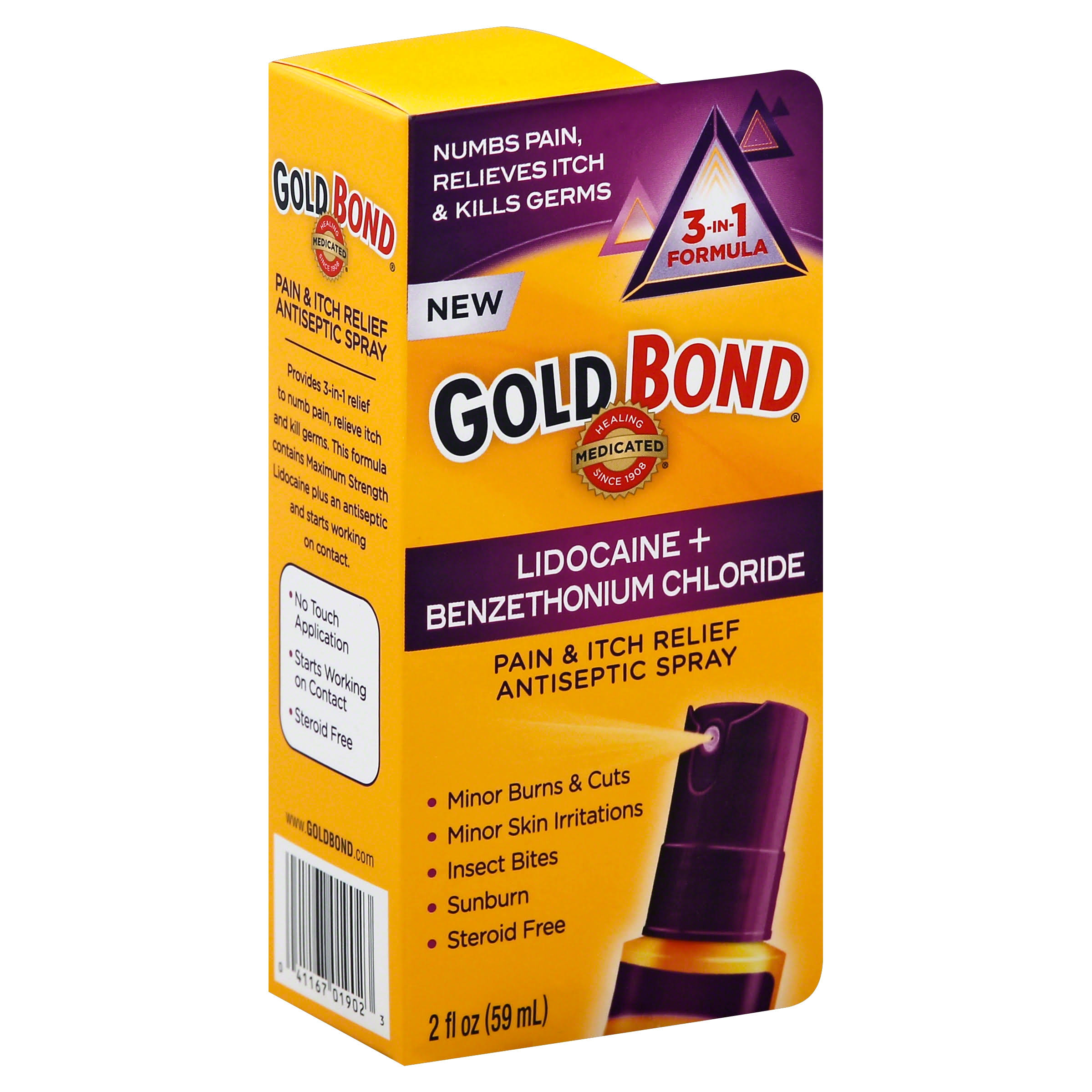 Gold Bond Pain & Itch Relief Antiseptic Spray - With 4% Lidocaine, Pack of 2