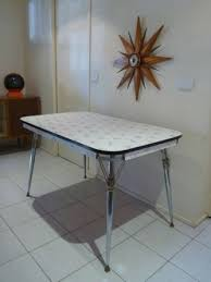 1950s 60s Retro Laminex Laminate Kitchen Dining Table Chrome Regarding 1950S Formica And Chairs