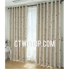 Beige And Red Star Clearance Organic Blackout Nursery Kids Curtains