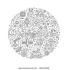 Big Collection Uniue Icons Different Space Stock Vector