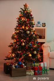 Home Interior Pics Fototapete Dekoriert Weihnachtsbaum Auf Home Interior Hintergrund In Der Nacht