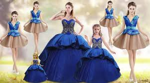 56918 38298 Blue Ball Gowns Taffeta Sweetheart Sleeveless Beading And Appliques Embroidery Lace Up Vestidos De Quinceanera