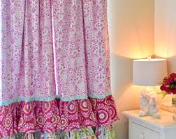 Pink Ruffled Window Curtains by Ruffled Curtains Etsy