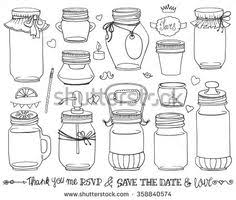 Mason Jars SetWeddingromantic Hand Drawing Doodle Holiday SetPartysave