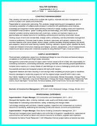 Sample Resume Project Manager Construction Examples Beautiful