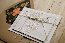 Champagne Wedding Invitation Rustic Floral With Twine
