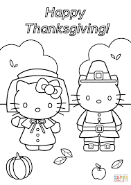 Hello Kitty Thanksgiving Coloring Page Free Printable Pages Inside