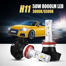 osl h11 led car headlight bulb 50w 8000lm dual color yellow