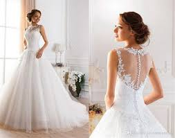 discount 2016 lace white ivory a line wedding dresses for bride