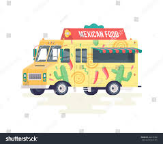 Vector Colorful Flat Mexican Food Truck Stock Vector (Royalty Free ...