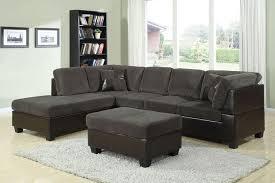 acme dark green corduroy and espresso pu sectional sofa