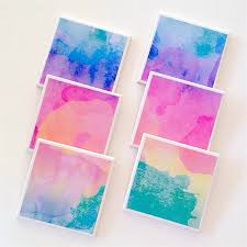 watercolour coasters 6 ceramic tile drink coasters summer