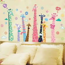Art Colorful 3d Wall Stickers For Bedrooms Interior Design Color Giraffe Wallpaper Kids Rooms Home