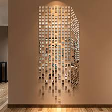 diy mosaic squares 3d acrylic mirror wall sticker living
