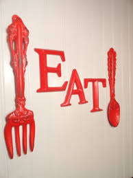 Giant Fun Fork And Spoon Wall Decor With Eat Sign In Apple Red My Daughter Loves These I Gotta Find Some For Her Kitchen