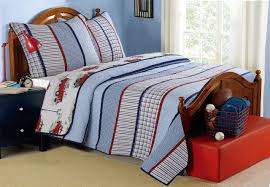 100 Fire Truck Bedding Vintage Striped Boys Twin FullQueen Quilt Set