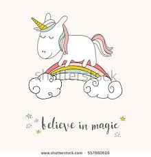 Cute Unicorn And Rainbow Greeting Card Magical Vector Poster