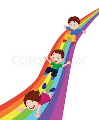 Vector Illustration Of Kids Cartoon Sliding Down A Rainbow