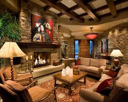 interior stone wall in country style living room decolover net