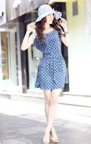 Summer Korean Street Style Mini Dress With Polka Dot Motives And Floral Print Hat