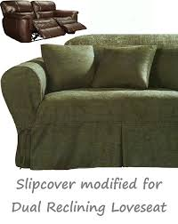 Sure Fit Dual Reclining Sofa Slipcover by Reclining Loveseat Slipcover Heavy Suede Forest Green Sure Fit