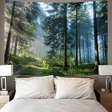 urblapow wandteppich mit wald motiv wandbehang wandteppich für schlafzimmer wohnzimmer 203 x 150 cm