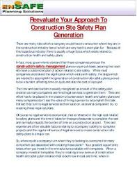 Personal Safety Plan Template Construction Site Fire
