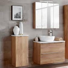badezimmermöbel set mit led spiegelschrank toskana 56 wotaneiche wei