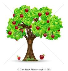 Illustration of apple tree on white background vectors Search