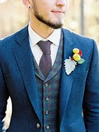 Rustic Navy Groom Wedding Suit