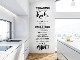 wandtattoo willkommen in unserer küche