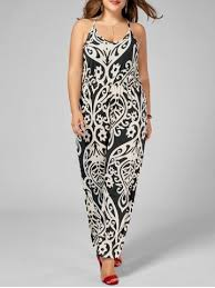 Chic Plus Size High Waisted Printed Jumpsuit