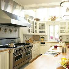 Cabinets White Country Kitchen With Butcher Block French Tile Designs Small Countertops Design