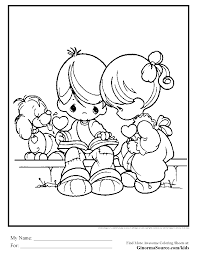 Coloring Page Precious Moments Boy Girl Love