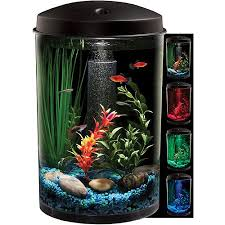 Extra Large Aquarium Decorations by Hawkeye 3 Gallon 360 View Aquarium Kit With Led Lighting And