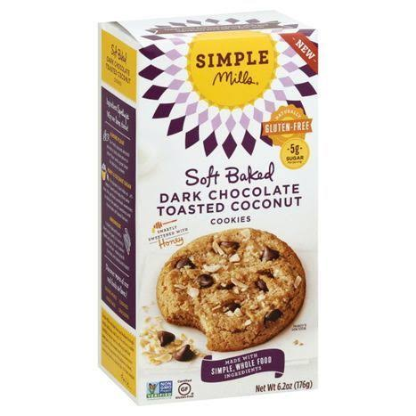 Simple Mills Cookies, Soft Baked, Dark Chocolate Toasted Coconut - 6.2 oz