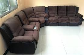 leather sofa leather couch with recliner and chaise signature