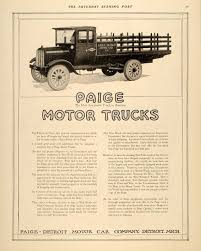 100 Trucks Paper 1918 Ad Paige Detroit Motor Car Service War Work ORIGINAL