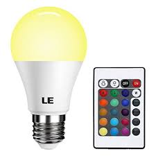 le dimmable a19 e26 led light bulb 6w rgb 16 colors remote