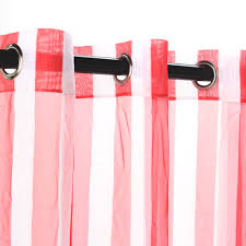 Sunbrella Curtains With Grommets by Shop Sheer Red Stripe Outdoor Curtain With Grommets Commonwealth