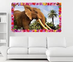 3d wandtattoo elefant elfenbein afrika palmen blumen rahmen wandbild wohnzimmer wand aufkleber 11l906 wandtattoos und leinwandbilder günstig