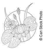 Lotus Flower Coloring Book Vector Illustration
