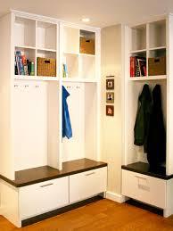 Modern Corner Mudroom Bench With Storage Drawers Plus Bookshelves