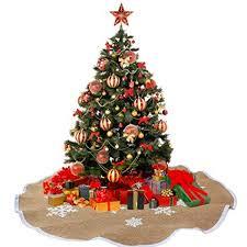 AerWo Snowflake Tree Skirt Ornaments Rustic Burlap Christmas Skirts Xmas Decoration Party Supplies