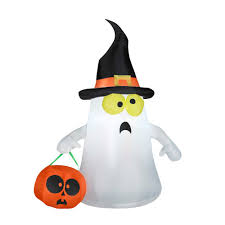 Airblown Inflatables Halloween Decorations by 3 5 U0027 Airblown Inflatable Ghost With Witch Hat By Gemmy American