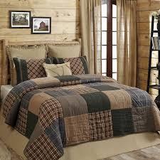 HENLEY Queen 3p Quilt Set Rustic Primitive Plaid Brown Blue Country Block Cotton