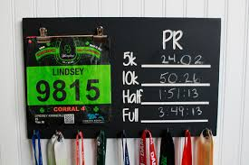 Carved Race Medal Display Chalkboard PR Holder And Bib