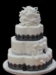 Black And White Wedding Cakes With Bling Photo
