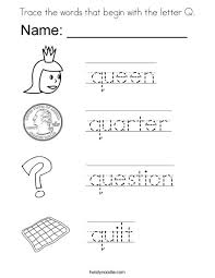 Trace the words that begin with the letter Q Coloring Page